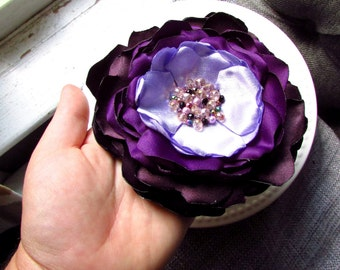 XL Ombre Purple Silk Flower Pin, Extra Large Flower Brooch Crystal, Oversized Floral Pins for Dress, Jumbo Big, Deep Plum Eggplant Bridal