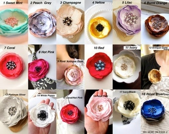PICK 1 Silk Flower Brooch Pin, Women's Gift for Christmas 20, Large Fabric Flower Brooches, Beaded Floral Jewelry, Unique Broach Woman Pins