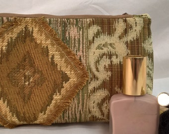 Earth Friendly~Green~Environmentally Friendly~Recycled~Dupioni Silk Lined~Cosmetic Bag~Fil Coupe~Fil Vagabond~Harvest