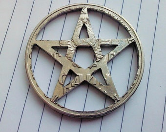 Pentagram pendant. Coin cut charm. All handmade russian rouble coin