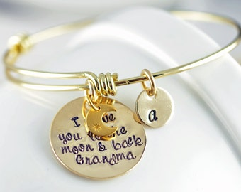 Personalized I Love You To The Moon And Back - Gold Bangle Bracelet With Name, Mothers Gift - Mom Gift - Gift for Grandmother