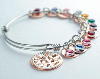 Personalized bangle bracelet, Family Tree Charm Bracelet, Mother Bracelet, Mother Jewelry, Name bracelet, Family Jewelry, Gift for Her