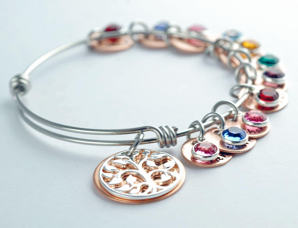 personalized bangle bracelet family tree charm by