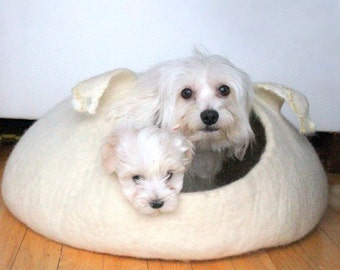 SALE Ready to ship - pet bed - small dog bed - natural white dog bed size XL