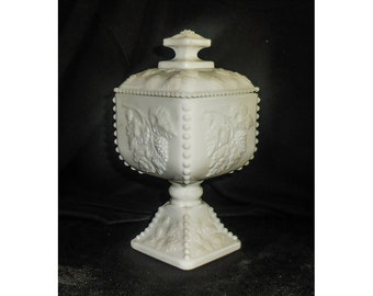 Covered Compote Westmoreland Milk Glass Paneled Grape Pattern