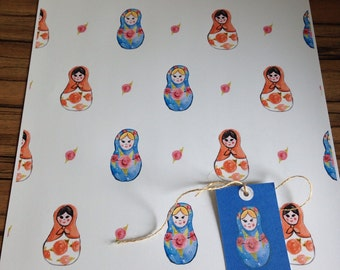 Russian doll gift wrap wrapping paper