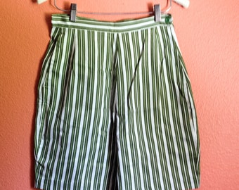 SALE Early 60s High Waisted Shorts / Green and White Stripes / Size S