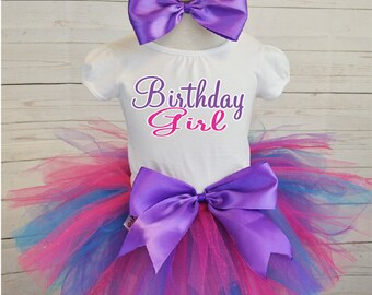 birthday girl birthday outfit, FREE SHIPPING,birthday girl outfit, pink and purple birthday tutu,hot pink tutu,girl birthday outfit