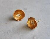 Eggshell Stud Earrings. Unique Jewelry, silver or gold handmade, hammered eggshell earrings, modern geometric jewelry