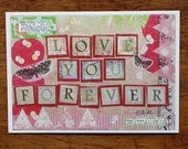Love You Forever Mixed Media Art Print Positive Butterfly Collage Art Inspirational Pink Green Beige