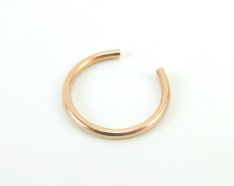 Faux Nose Ring 14K Rose Gold Filled Fake Nose Hoop Ear Cuff Non-Pierced Earring 20 Gauge Cuff Body Jewelry Helix Cuff Cartilage Hoop