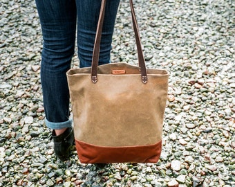 BAGUETTE BAG in Field Tan | Waxed Canvas and Leather Tote Bag | Waxed Canvas Bag | Everyday Tote