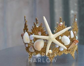Mermaid Crown - Shell Crown - Festival Crown - Gold Crown - Bridal Crown - Bridal Headpiece - Mermaid Costume.