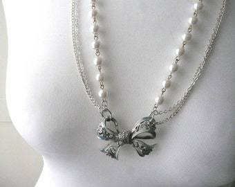 Handmade necklace - vintage bow necklace - enamel bow and faux pearl necklace - upcycled vintage necklace - pearl and silver chain necklace
