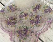 Vintage Hankie Handkerchief Sheer Lavender Floral Design