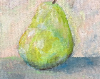 Green Pear Abstract  Painting
