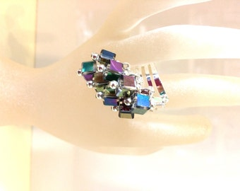 Asymmetric Cascading Rainbow Multicolour Cube Crystal Adjustable Cocktail Ring by JulieDeeleyJewellery OOAK