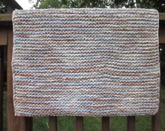 Hand Knitted Light Blue White Beige Cotton Area Rug / Machine Washable Area Rug