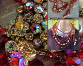 Vintage huge bib ruby red signed designer Robert statement necklace asymmetrical rhinestone pendant