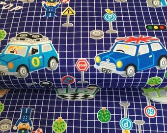 Pushpin Cars fabric in Blue by Kokka Japan