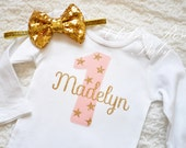 Twinkle Little Star Pink and Gold Birthday shirt, Personalized Birthday shirt, Baby First Birthday Shirt, 2nd star Birthday outfit Pink Gold