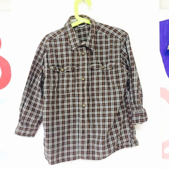 Vintage Plaid Shirt Kids 7-8 Years Cotton Flannel Lumberjack Unisex