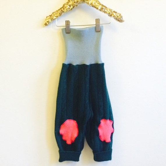 FALL 1-2 Years Kids Cashmere Leggings Toddler Trousers Pants in Upcycled Cashmere Pattern Unisex
