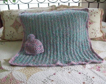 Crochet,Baby,Infant,Gift,Girl,Afghan,Blanket,Hat,Photos,Girls,Babies,Infants,Cover,Three to Six Months,Pink,Turqouise