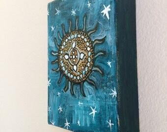"""Diatom original painting 5""""x7"""" gallery wrapped"""