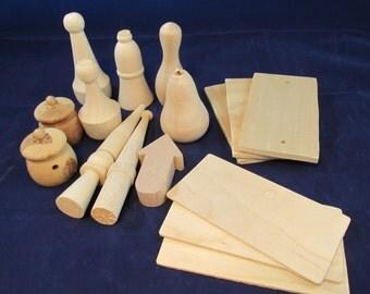 Raw Wood Craft Supplies Destash - Miscellaneous Shapes