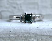 Vintage 14K White Gold Blue Diamond Engagement Ring with Baguette Diamonds - 0.70ct.