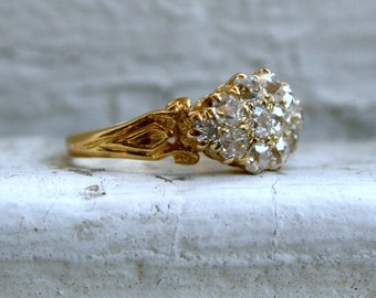 Fabulous Antique 15K Yellow Gold Diamond Cluster Engagement Ring - 1.20ct.