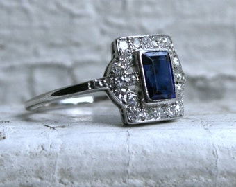 RESERVED - Stunning Vintage Platinum Sapphire and Diamond Engagement Ring - 1.27ct.