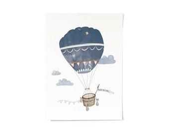 Hot Air Balloon Adventure Print A3