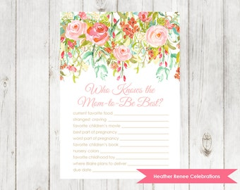Baby Shower Know the Mom Game | Floral Baby Shower Game | Garden Party Sprinkle Printable