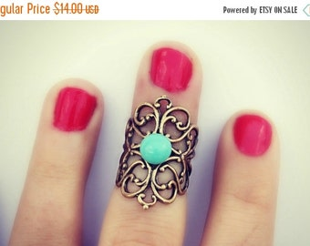 FALL SALE knuckle ring in turquoise, midi ring, above the knuckle ring, turquoise ring, antique brass ring, unique ring