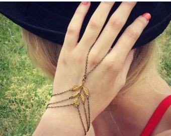 FALL SALE leaf slave bracelet, leaf hand chain, bracelet ring, slave ring, flower ring, boho bracelet, ring bracelet