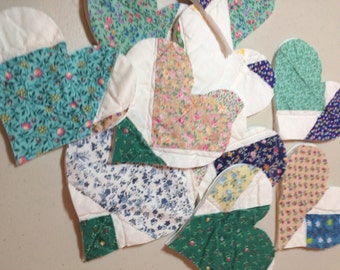"""Up Cycled Cutter Quilt - Repurposed Quilt - 10 Piece Set of 4.5"""" Die Cut  100% Cotton Hearts - A"""