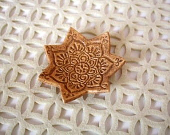 Jewelry Dish - Speckled Brown Ring Holder with stamped bohemian star pattern.  Boho trinket dish - bohemian decor - modern bohemian