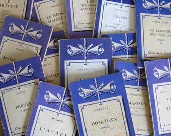 French purple books Classiques Larousse decorative softback books with FREE SHIPPING