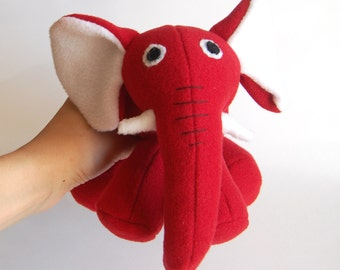 Red plush elephant inspired by Max and Ruby's red rubber elephant