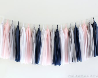Blush Pink, Grey, White, Navy Blue Tissue Paper Tassel Garland- Wedding, Birthday, Bridal Shower, Baby Shower, Garden Party Decorations