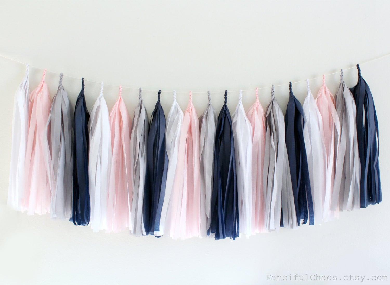 Blush Pink Grey White Navy Blue Tissue Paper Tassel