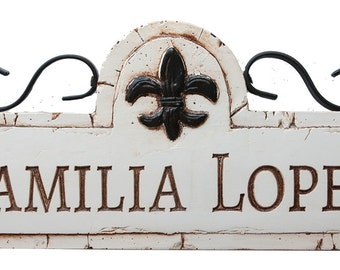 Personalized Fleur Di LIs Sign with iron accents