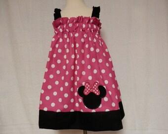 Pink Minnie mouse sundress,elastic top sundress,Large pink polka dot Disney dress,Pink Minnie Mouse dress,pillowcase dress,pillowcase
