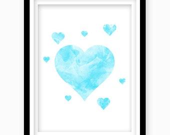 Watercolor Heart Print, Bue Heart, Digital Download, Blue Nursery Wall Decor, Printable Wall Art, Blue Boys Bedroom Decor, Nursery Art