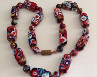Art Deco Venetian millefiori glass necklace