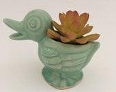 Vintage Duck Planter, Mint Green Planter, Ceramic Duck Planter