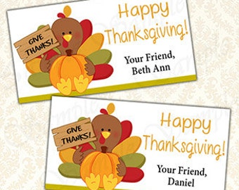 Happy Thanksgiving Goody Bag Toppers Printable, Personalized Name Treat Bag Tag Labels, Give Thanks Goodie Favor Bags Topper