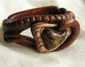 Hand carved wooden bracelet with natural baltic amber Unique boho style